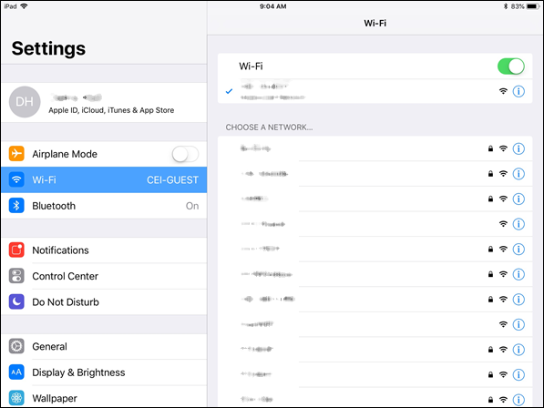 WiFi Networks in iPad Settings menu