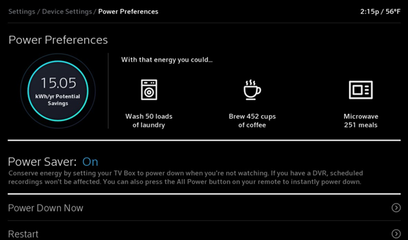 image of example of power preferences