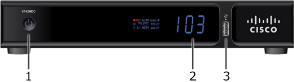 Image of Arris XG1 high definition DVR receiver front panel diagram showing Power button, and LED indicators and display