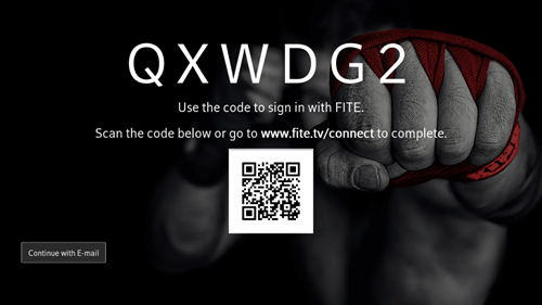 Image of example of access code for FITE TV