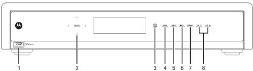 imagen de diagramafrontal del receptor de DVR de alta definición Motorola DCX3400