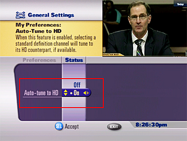 Turn on HD auto tune through the Settings - Preferences menu.
