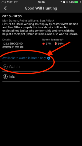 Before viewing a channel an in home message may display when not connected to the home WiFi.
