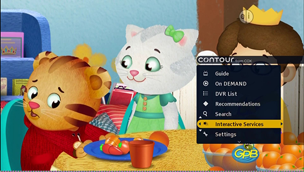 image of a program with the Contour 1 main menu displaying on the lower right side