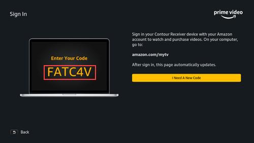 Imagen del código que se muestra en el televisor