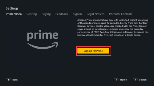 Image of Prime Video sign up