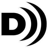 the video descriptive logo is a capital D with several curved lines in front