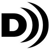 el logo de video descriptivo es una D mayúscula con varias líneas curvas al frente