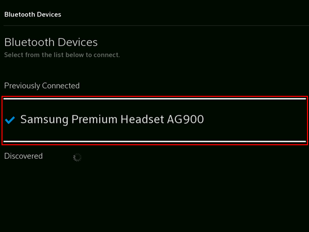 Image of device name in Bluetooth settings