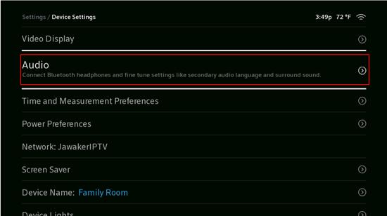 Image of Audio Device Settings Menu