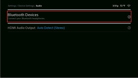 Image of Device Settings Bluetooth Devices