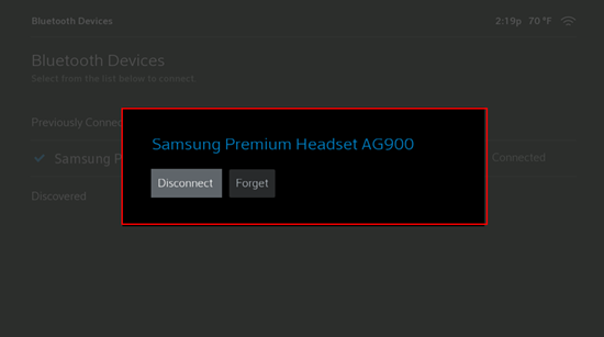 Image of Disconnect or Forget in Bluetooth Settings