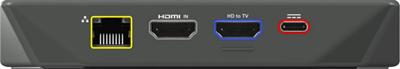 Diagrama del panel trasero del receptorArris Xi6 MoCA y IP HD donde se muestran el puerto Ethernet, los puestos HDMI y el puerto de alimentación.