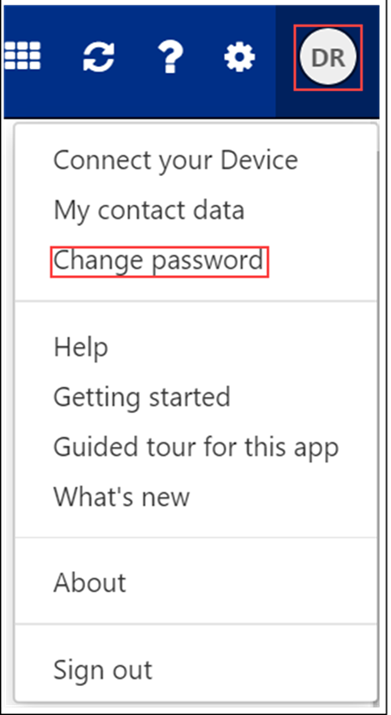 Image of change password drop down in CB Webmail
