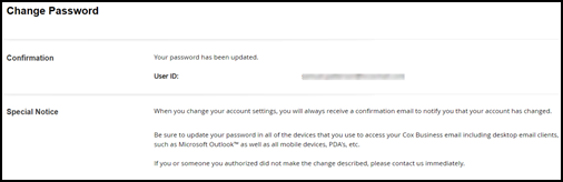 Image of password change confirmation