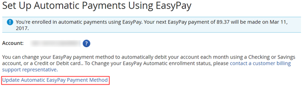 Update Automatic EasyPay Payment Method