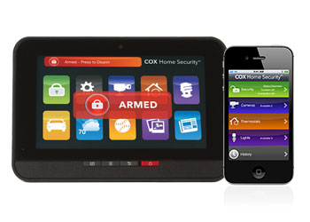 Home on a tablet with home security monitoring