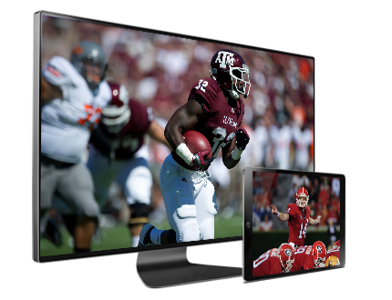 TV and tablet with football images