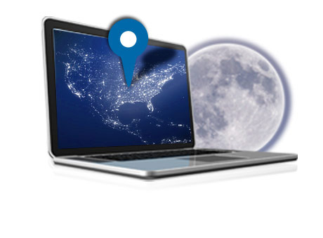 A laptop with a map marker in front of a full moon