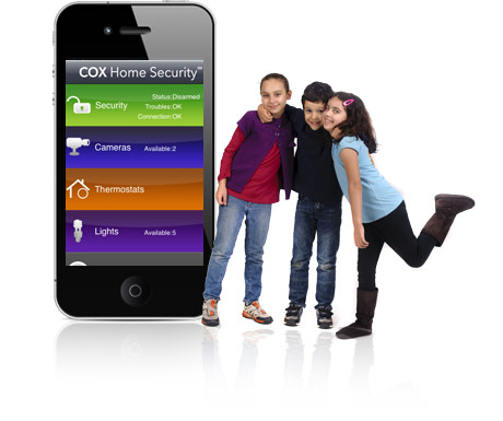 A smartphone with the Cox Home Security app and 3 children