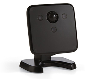 A small black security camera