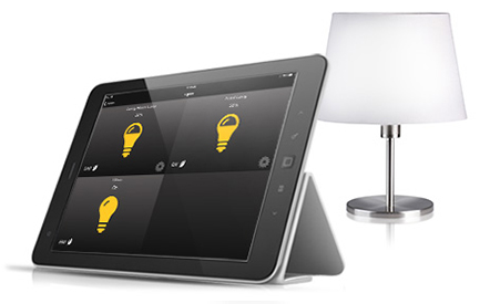 A tablet with lighting controls.