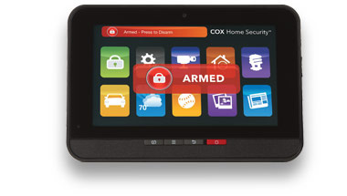 The Cox Home Security touchscreen