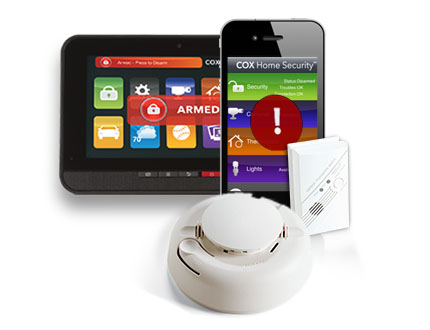 A smartphone and a touch-screen control working with smoke detector and carbon monoxide monitor