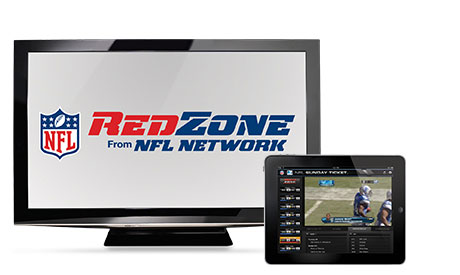 RedZone TV and tablet with football images