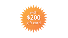 $200 Gift Card orange burst