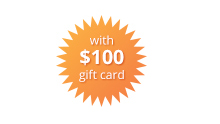 $100 Gift Card orange burst