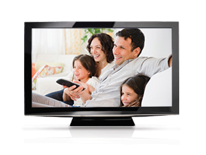 TV with image of family watching TV